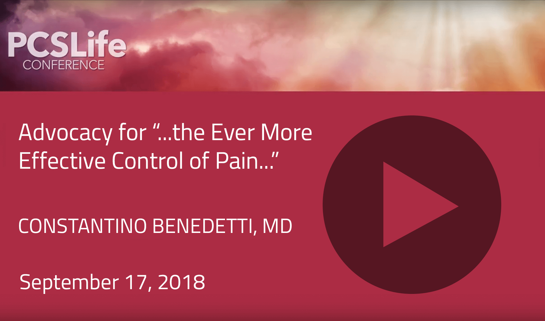 "Advocacy for ""...the Ever More Effective Control of Pain..."" by Constantino Benedetti"