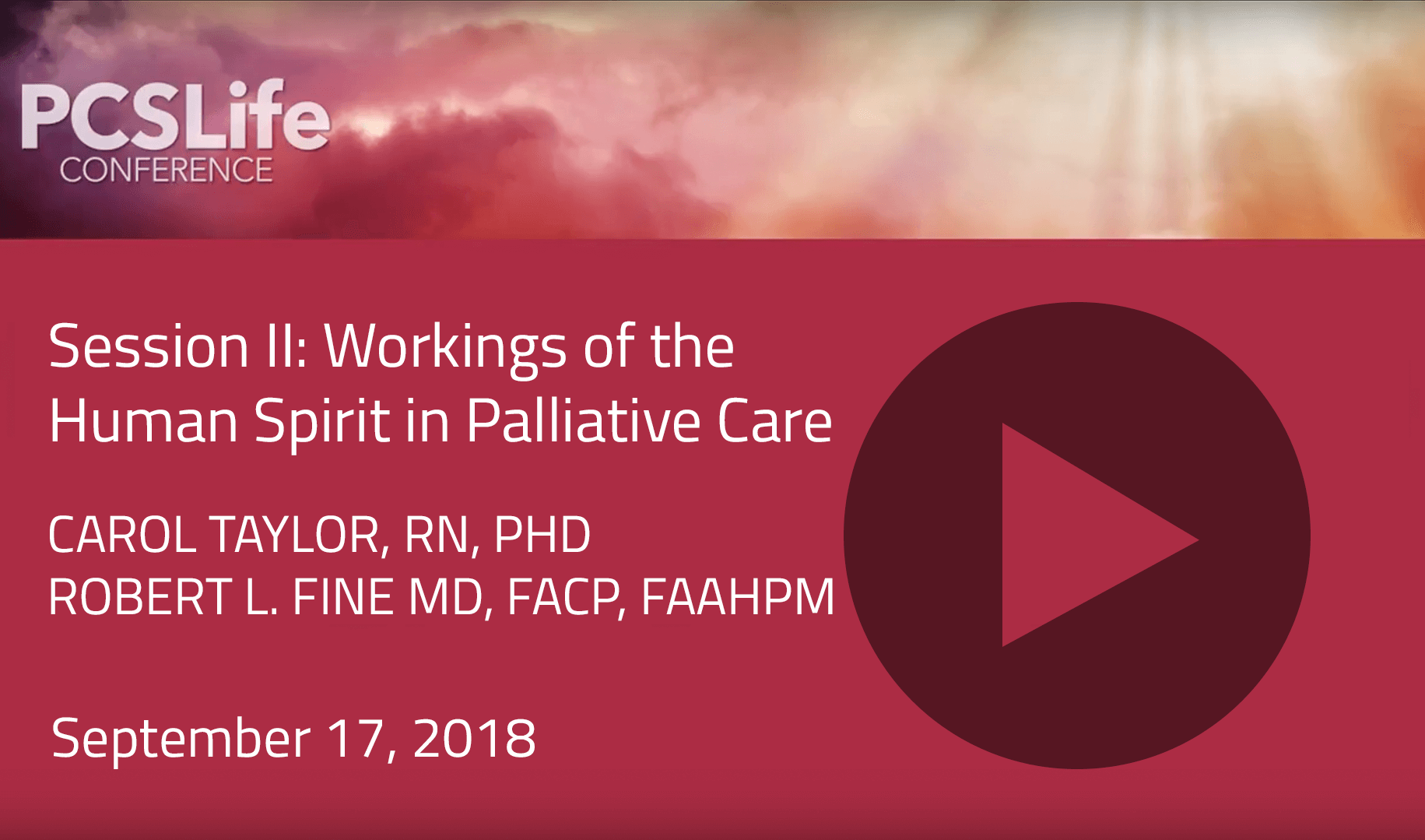 Session Two: Workings of the Human Spirit in Palliative Care by Carol Tayler and Robert L. Fine